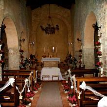 L'interno della Chiesa di San Vincenti preparato per un matrimonio